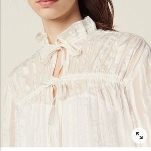 Sandro Flowing Blouse With Fine Lurex Stripes